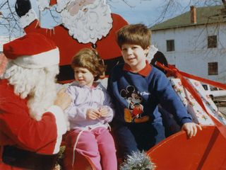 In December 1987, Sis and I took a moment to visit with Santa Claus, here in downtown Rogers.