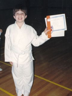 I took a Taekwondo class at the Walton Life Fitness Center from 1989-1992. This photo is when I was promoted in rank from white belt to orange belt.
