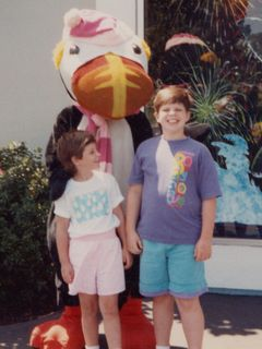 In August 1991, we went on vacation to southern California. Here, we're in San Diego, at Sea World. I personally thought that the Sea World in San Diego wasn't as nice as the Sea World in Orlando, but regardless, here we are in front of some costumed critter...