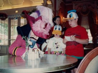 Similar to Walt Disney World in Orlando, Disneyland also offered a character breakfast. Sis and I at this time were getting an autograph from Captain Hook. Note the hats Sis and I have got on, that we got on our Florida trip two years before. We're so geeky...