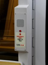 Emergency intercom: 2000 and 3000-Series cars have a white intercom with a single button, with glow-in-the-dark signage.