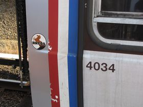 Builder's mark: 4000-Series cars have the Breda logo on the exterior of the car, next to the cab window.