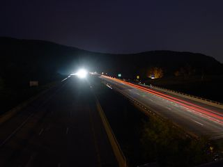 Similarly, cars and trucks light the way along the western side of Afton Mountain, in Augusta County.