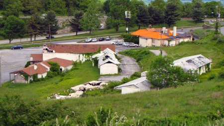 The cluster of decaying motel and restaurant buildings on Afton Mountain on May 19, 2011.