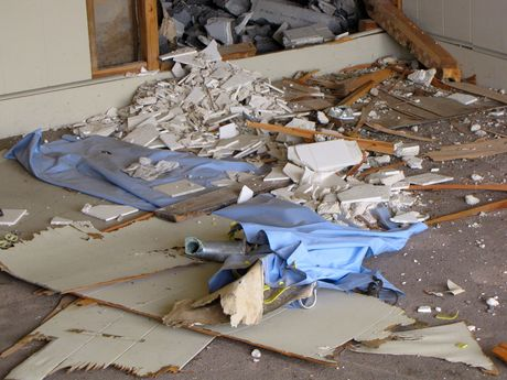 Debris from various collapsed structures on the floor.