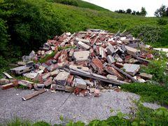 Debris following demolition of a guest building.
