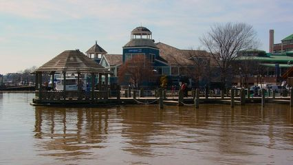Beyond another of these gazebos are some of the restaurants at the waterfront, most notably Chart House.