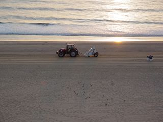 Meanwhile, the sand crews are still at work, combing the beach to make it all smooth again.