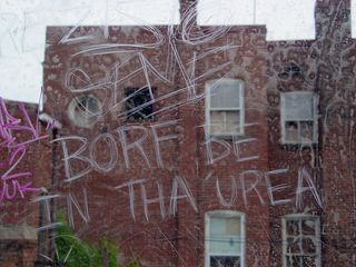 """Even the windows carried messages, being covered in """"scratchitti"""". However, """"Borf be in tha urea"""" is beyond my comprehension..."""