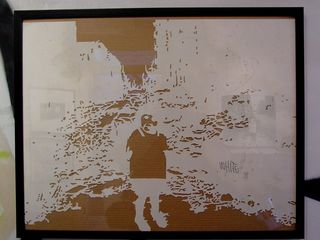 To make the above image using spray paint, it took the use of three stencils, one after the other.