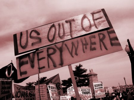 """""""US OUT OF EVERYWHERE"""" sign near Memorial Bridge"""