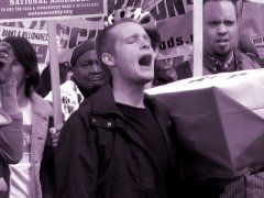 A man shouts during the demonstration