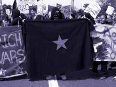 Star banner being held up by a black bloc demonstrator