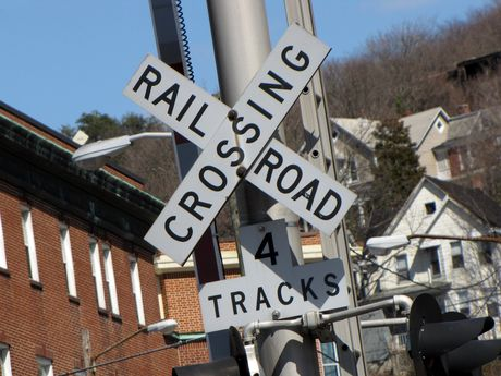 Crossbuck for the railroad crossing at Baltimore Street.