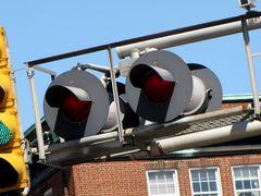 Railroad crossing signal lights at Baltimore Street.