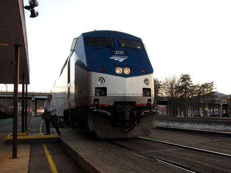 Amtrak locomotive 201, the first of two locomotives leading the westbound Capitol Limited consist.