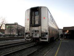 Amtrak car 34042, a Superliner I passenger coach.