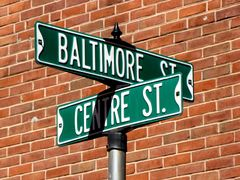Street sign for Baltimore and Centre Streets in the Downtown Mall.