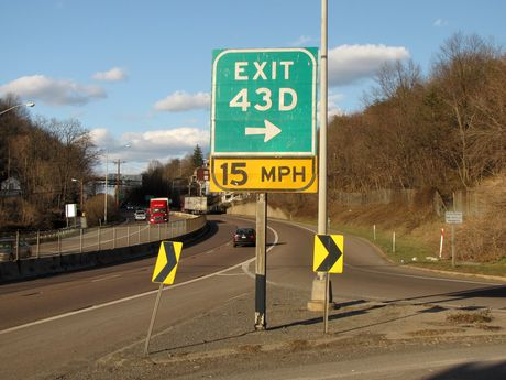 Exit 43D on Interstate 68 eastbound.