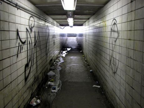 Pedestrian tunnel beneath Queen City Drive and the railroad, adjacent to Baltimore Street. During my visit, I observed far more people crossing the street and railroad tracks directly, vs. using the tunnel.