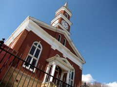 Town Clock Church, home of First Christian Church (Disciples of Christ) on Bedford Street.