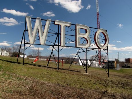 WTBO sign, viewed from the grounds of the station on Wills Mountain.