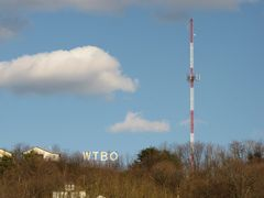 WTBO sign and transmitter, viewed from the town below.
