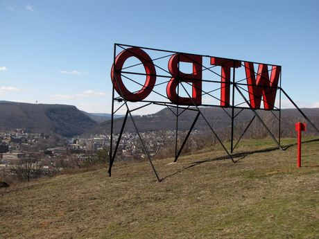 View of Cumberland from behind the WTBO sign, on Wills Mountain.