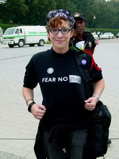 A number of participants wore shirts stating various views on the Bush administration.