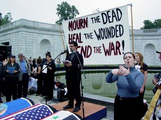 Speakers carried all kinds of messages to the stage, all with the common theme of bringing our troops back home to us.