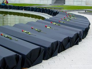 Behind the stage, along the reflecting pool, lay roughly 100 replica coffins, representing some of the dead in Iraq. Each one had a rose on top of it. These coffins would be carried by participants to the Ellipse.