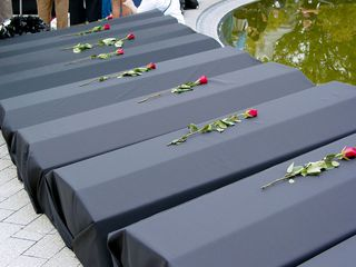 The coffins, with roses on them, made a more powerful statement than one might think. Even this smaller number at Arlington National Cemetery made one stop and think for a moment.