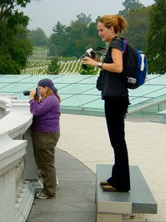 On the roof of the Women's Memorial, people took the opportunity to get some aerial shots of the group.