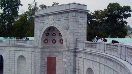 The Women's Memorial provided a great backdrop for the event, seen here from the far end of the roof.