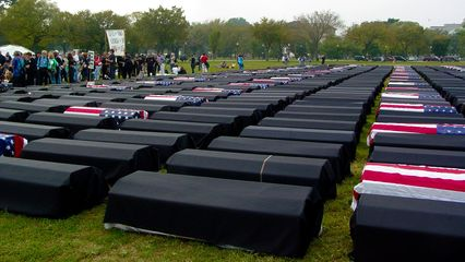 It was quite a profound sight, seeing this many coffins, each representing a soldier killed in Iraq.