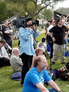 Meanwhile, media crews continued to film the events and record the speeches.