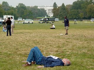 One gentleman just simply took a nap on the grass of the Ellipse, within view of the White House, with a sign given out at Arlington National Cemetery still pinned to his chest.