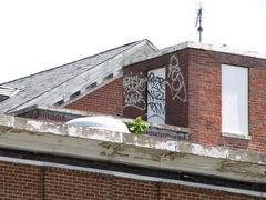 Graffiti on the roof of the original building