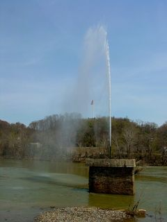 At the very bottom of downtown, one will find the James River, which also forms the border between the city of Lynchburg and Amherst County. In the James River is a fountain sending water straight up into the air. The direction that the water takes once it's in the air is determined by how the wind is blowing at the time, sending it left, right, forward, or back.