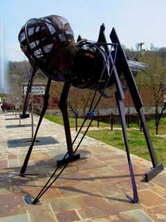 On the sidewalk outside Amazement Square are metal sculptures of various bugs. The worm sculpture above also doubles as a bicycle rack, though it is unknown whether this was deliberate or not.
