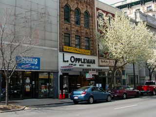 Main Street in Lynchburg contains a number of vintage buildings, reminiscent of the downtowns of smaller cities.