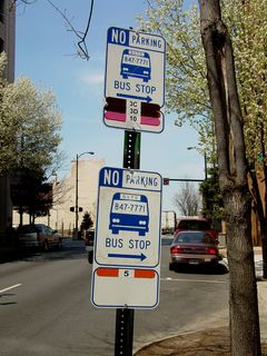 Along various streets, one could find signage for GLTC, Lynchburg's public bus service.