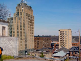 Court Street is at the top of the hill that downtown sits on. From there, one can see the entire downtown area. From here, the rear of the Bank of America Building and the Allied Arts Building are visible.