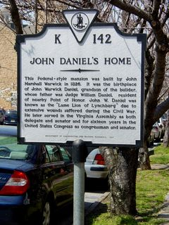 On Court Street, an historical marker indicates the location of the home of John Daniel.