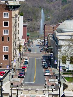 In front of the Lynchburg Courthouse, leading down to Church Street, is Monument Terrace. Monument Terrace is a brick and concrete stairway, containing memorials on the landings to Lynchburg residents who fought in various wars. From the top of Monument Terrace, one can see all the way down to the fountain in the James River.