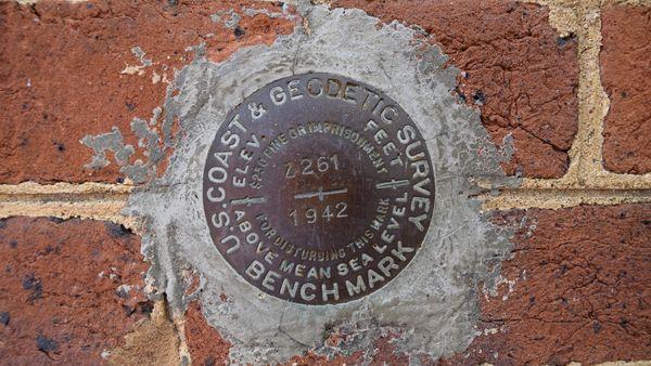 US Coast & Geodetic Survey benchmark at the Williamsburg Transportation Center.