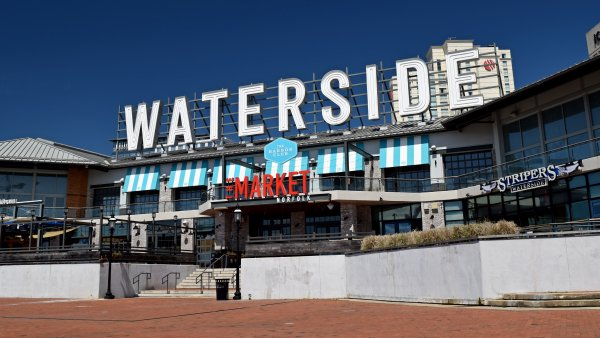 Waterside District, a dining and entertainment complex in downtown Norfolk, Virginia. This facility was closed at the time due to COVID-related restrictions.