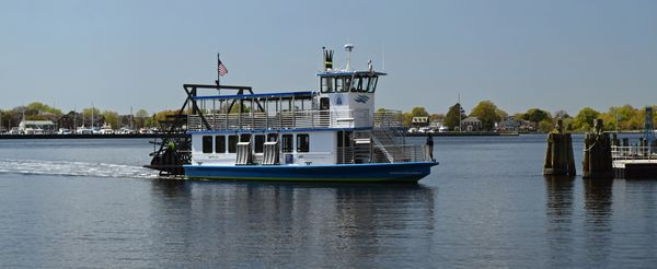 The Elizabeth River Ferry V, operated by Hampton Roads Transit, running a water taxi service across the Elizabeth River between Norfolk and Portsmouth, Virginia.