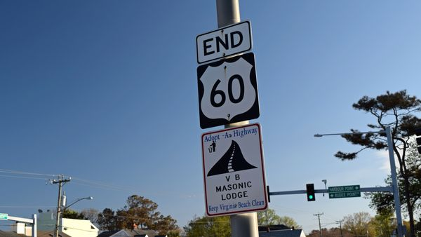 """""""END"""" signage on a lamppost at the eastern terminus of US 60 in Virginia Beach, Virginia. The road continues beyond this point as General Booth Boulevard."""