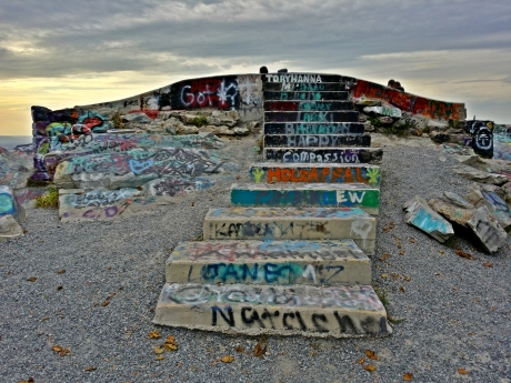 Graffiti-covered steps leading up to High Rock.